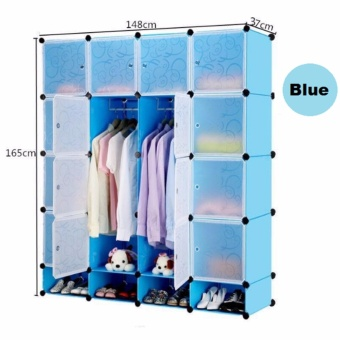 Tupper Cabinet 16 Cubes Doors DIY Storage Cabinet with Bottom Shoe Rack (Blue) Price Philippines