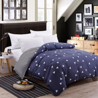 Two-tone Pattern Sanding Cotton Duvet/Quilt Cover Full Queen King Size - intl