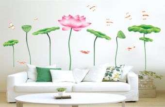 ufengke UF-WL0170 Lotus Flower Wall Stickers Pink - picture 2