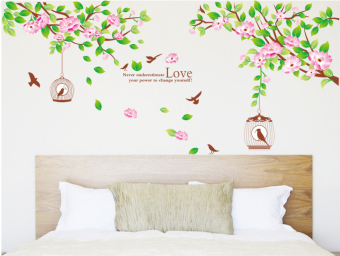 ufengke UF-WLA014 Tree Birdcage and Birds Wall Sticker Multicolor - picture 2