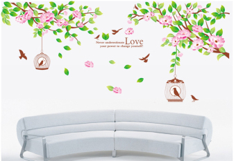 ufengke UF-WLA014 Tree Birdcage and Birds Wall Sticker Multicolor