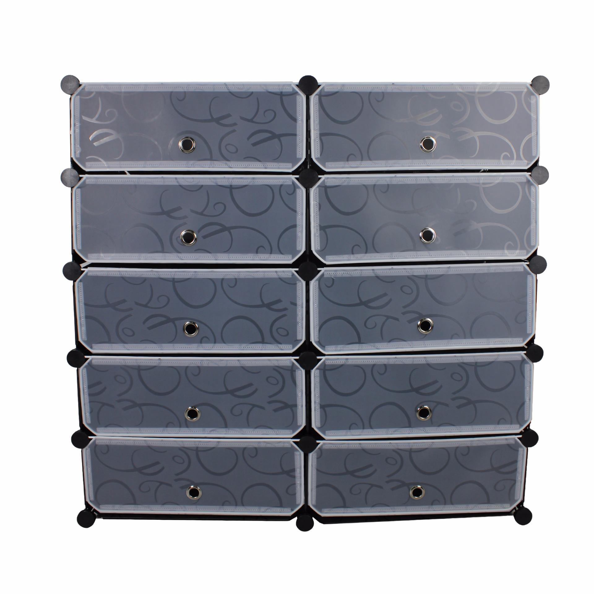 Unicorn Selected 10 Cubes DIY Storage Plastic Shoe Cabinet (Black ...