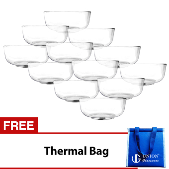Union Glass Bowl Set of 12 (Clear) with FREE Thermal Bag