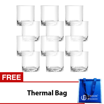 Union Glass Tumbler 9oz Set of 12 (Clear) with FREE Thermal Bag (Blue)