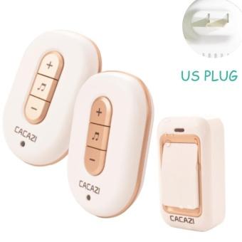 US Plug No Need Battery waterproof wireless doorbell 200M range AC 110-220V Electric Door bell door chime Home & Living 1 Button 2 receiver - intl - 2