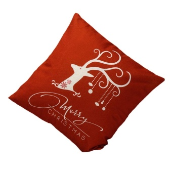 Vintage Christmas Deer Sofa Bed Home Decoration Festival Pillow Case Cushion Cover - intl