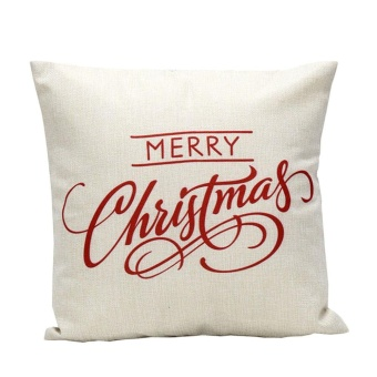 Vintage Christmas Letter Sofa Bed Home Decoration Festival Pillow Case Cushion Cover - intl