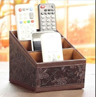 Leather Storage Box Remote Controller CD Organizer Caddy Table Holder Vintage