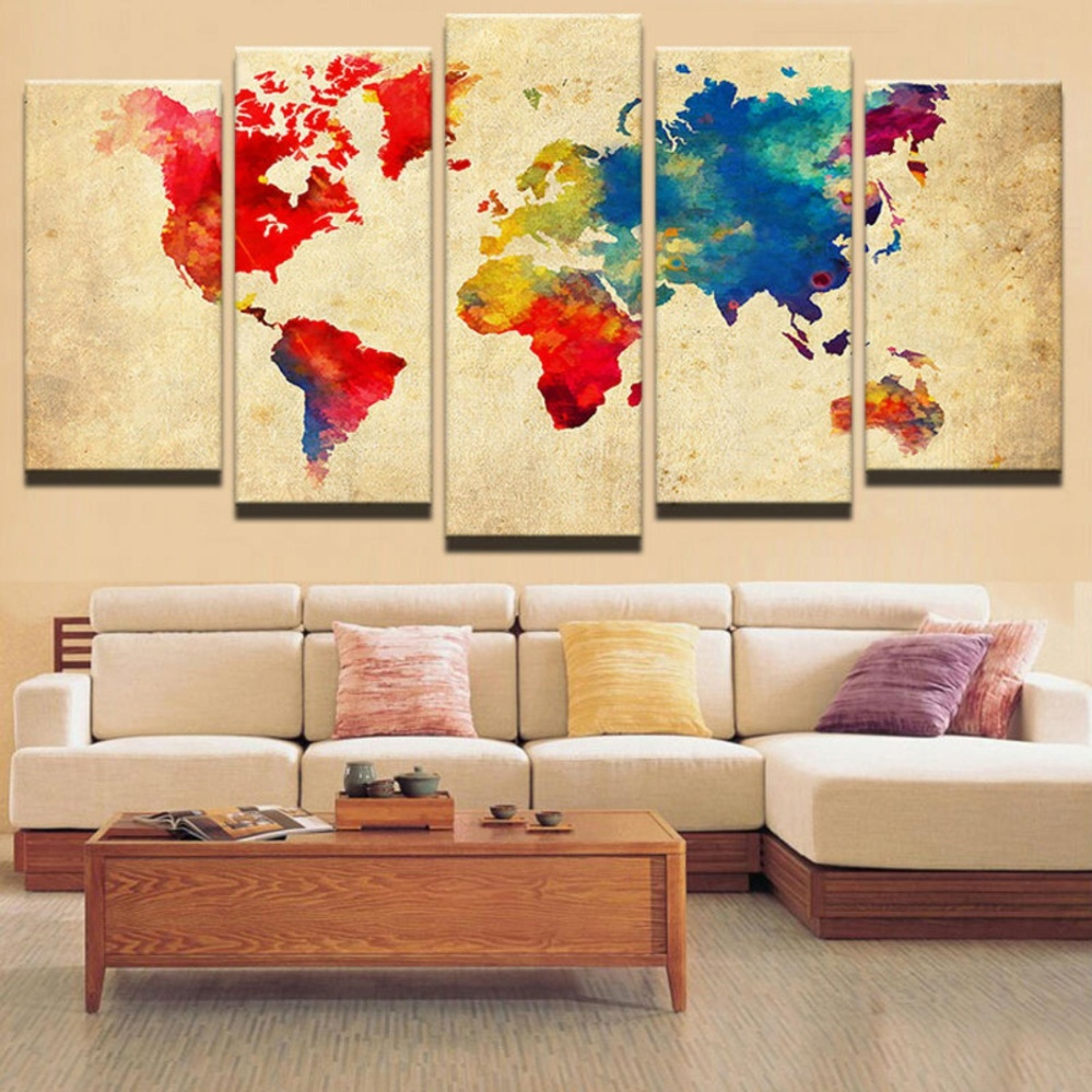 Philippines | Vintage Watercolor World Map Picture 5 Pieces Abstract ...