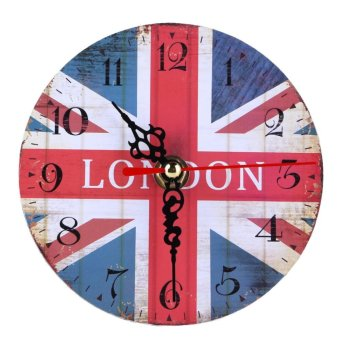 Vintage Wooden Wall Clock British Union Jack - intl Price Philippines