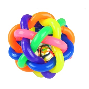 Vococal Dog Cat Toy Pet Accessory Rainbow Color Rubber Bell Ball(Multicolor)