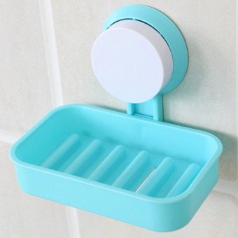 Wall Mounted Plastic Bathroom Shower Strong Suction Cup Soap Dish(Blue) - 4