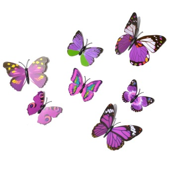 Wall Stickers Multicolor Butterfly Purple Set of 12 - picture 2
