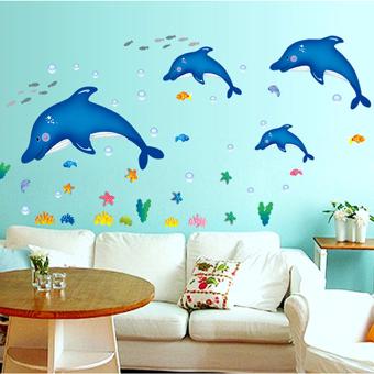 "Wallmark ""Big Blue Dolphin"" Wall Sticker"