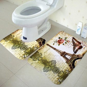 Wallmark Eiffel Tower Bathroom Floor Mat Set - 2