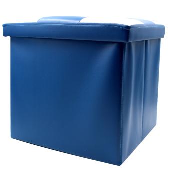 Wallmark Leather Checkered Ottoman Storage Box Chairs (Blue/White) - picture 2