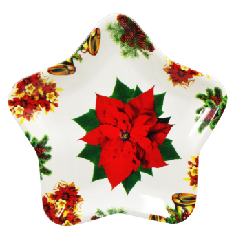 "Wallmark ""Red Poinsettia"" Star Shape Christmas Plate set of 3 - picture 2"