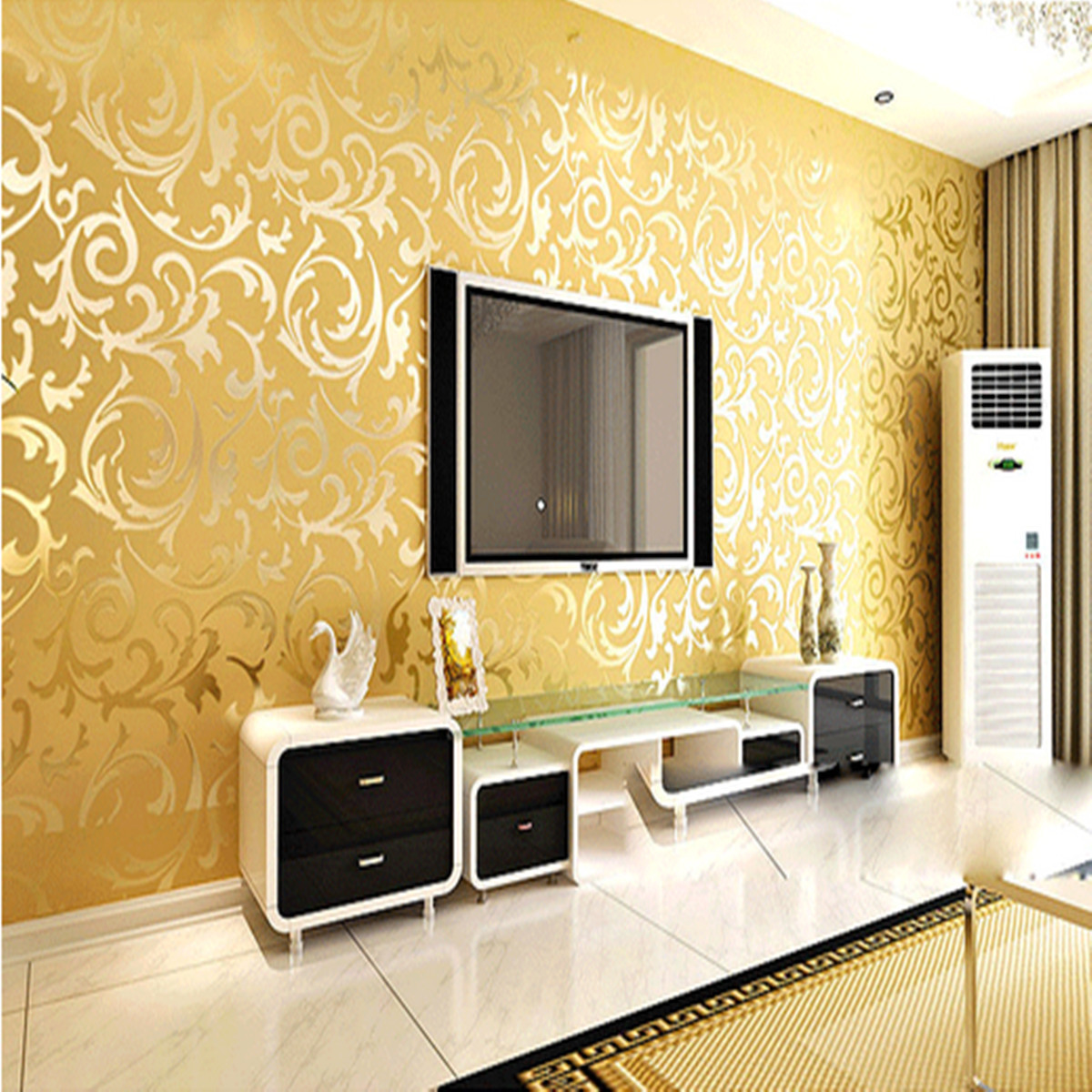 Wallpaper Roll Damask Textured Embossed Home Decor 10M Gold