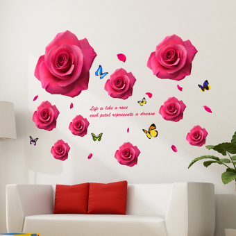 Warm and romantic bedroom room living room rose flowers wall adhesive paper sticker