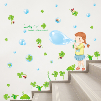 Warm girl's bedroom wall adhesive paper girl's wall painting