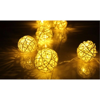Warm White 1m 10LED Latterns Rattan String Christmas Lights Outdoor For Wedding Natal Garden Holiday Xmas Lamp 3AA Battery - intl