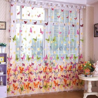 Washable Butterfly Screens Curtain Charm Butterfly Sheer TulleWindow Screens Balcony Curtain (Size 1 M*2 M) - Intl