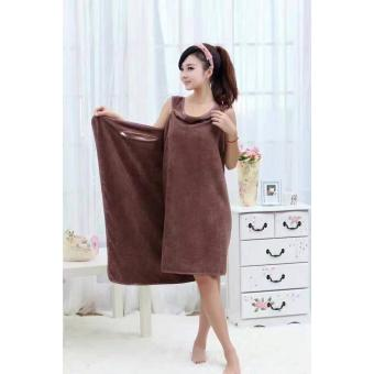 Wearable Fast Drying Towel Bathrobe Bath Dress (Brown)