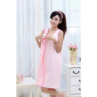 Wearable Fast Drying Towel Bathrobe Bath Dress (Light Pink)