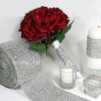 Wedding Diamond Mesh Wrap Roll Sparkle Rhinestone Looking RibbonSilver - 2