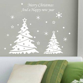 White Snowflake Christmas Tree Wall Window Decoration Sticker Decor Removeable Living Waterproof Fashion - Intl