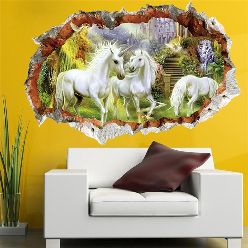 Philippines | White Unicorn Horse Grass Wall Sticker For Kids Room ...