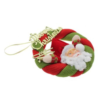 Whyus Santa Claus Snowman Christmas Wreath Hanging Ornament Decoration Pendant Gift Santa Claus - INTL