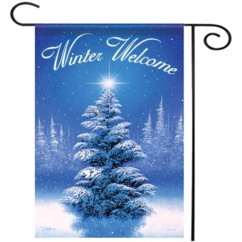 """Winter Welcome Tree Garden Flag Holiday Christmas Snow Decorative Banner 12.5""""x18"""" Blue - intl - picture 2"""