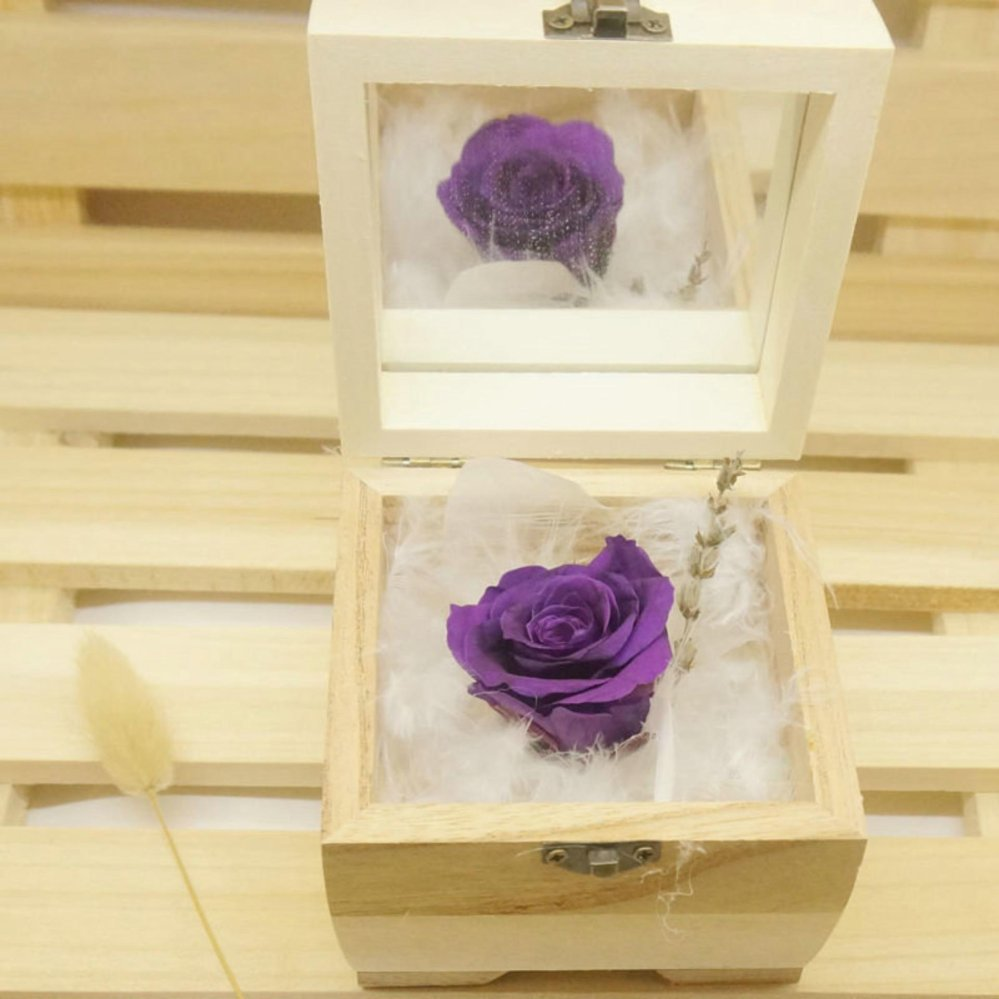 Women Heart Preserved Fresh Flower Real Rose Eternal Life ImmortalFlower in Wooden Box .