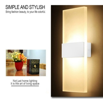 WOND 14*6cm LED Wall Lamp Bed-lighting Personal Ultra-thin Pathway Lamp with Rectangle Shape White Frame Warm White - intl - 5