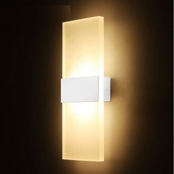WOND 14*6cm LED Wall Lamp Bed-lighting Personal Ultra-thin Pathway Lamp with Rectangle Shape White Frame Warm White - intl - 2