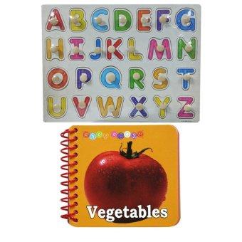 Wooden Alphabet A-Z Big Letter Design and Baby Book Vegetables