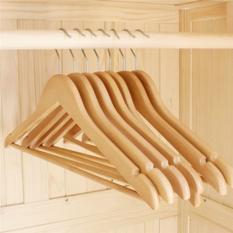 Wooden Clothes Hangers with Non-slip Grooved Bar 10-Pack - 2