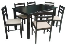 Wooden Dining Table And Chairs 6s With Cushion Seat