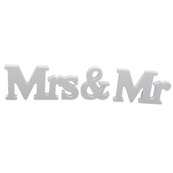 Wooden Mr and Mrs Letters Bridal Wedding ation Gift White