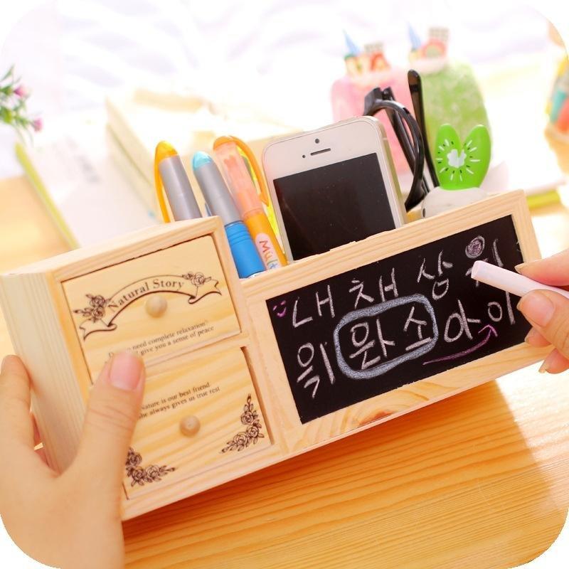... Wooden Pen Holder With Blackboard Cute Desktop Pencil Holder KawaiiDesk  Tidy Organizer Pen Pot Creative Office ...
