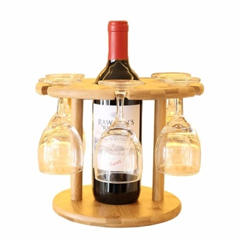 Wooden Removable Red Wine Holder and Goblet Rack Bamboo Cups Mugs Drying Hanging Stand - intl
