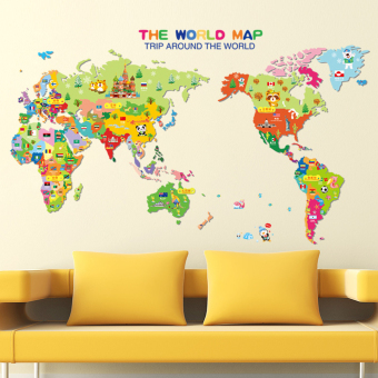 World Map English Letters Wall Decal Home Sticker PVC Murals VinylPaper House Decoration Wallpaper Living Room Bedroom Kitchen ArtPicture DIY for Children Teen Senior Adult Nursery Baby - Intl