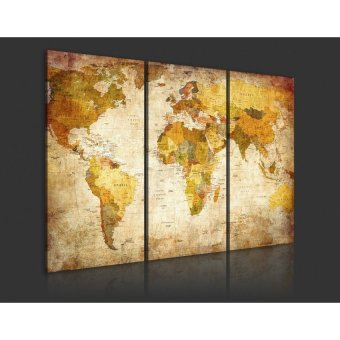 World Map Hanging On The Wall Canvas Triple Decor 45Cm X 90Cm Sizel - intl - 5