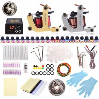 WORMHOLE TATTOO Complete Kit 2 Machines Shader Liner 20 Inks PowerSupply Accessories(UK Plug) - intl