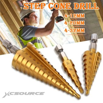 XCSOURCE 3pcs Large HSS Steel Step Cone Drill Titanium Bit Set Hole 4-12/20/32mm BI020