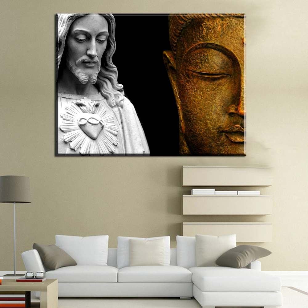 ... Xh2062 Jesus Buddha Canvas Wall Art Prints Paintings For Livingroom  Bedroom Decoration Art Painting Unframed 18x12inch ...