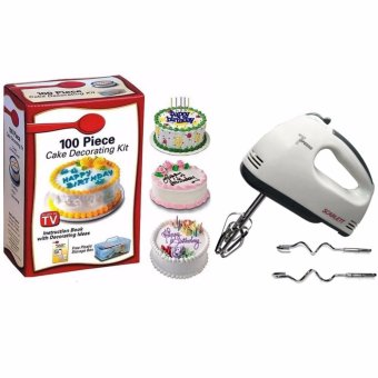 XZY- Cake Decorating Kit 100-piece Set with Scarlett HE-133Professional Electric Whisks Hand Mixer (White)