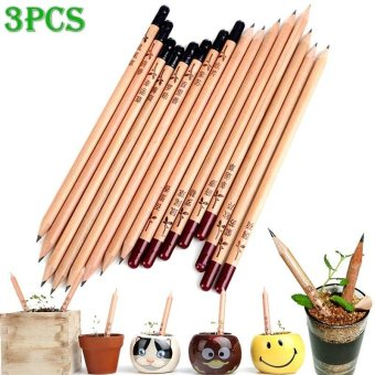 YBC 3 Pcs Creative Wooden Black HB Sprout Pencil with Plants Seeds- intl Price Philippines