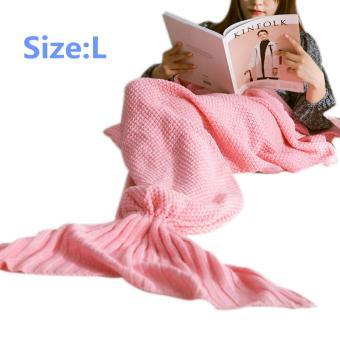 YBC Knitted Mermaid Tail Blanket Handmade Crochet Soft Blankets Pink